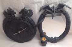 The clock has been tested and works. The back ear on the clock has been repaired. The mirror is similar to the clock but a exact set. Working Clock (the hands have been straightened from being bent). Clocks For Sale, Two Pieces, Selling On Ebay, Crochet Necklace, Gothic, Dragon, Ear, Sculpture, Mirror