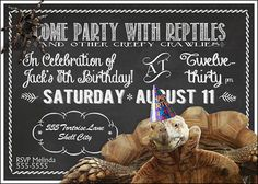 "Reptile Party Birthday Invitation -- print at home -- 5x7"" -- gender neutral on Etsy, $12.14 AUD"