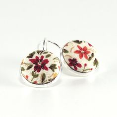Autumn Flowers Silver Toned Leverback Earrings Terracotta Brown Flower with Green Leaves Fabric Covered Buttons Jewelry
