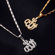 Islamic Allah Pendant Necklace Women Gold Plated Cubic Zirconia Necklace Religious Muslim Jewelry