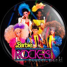 Retro Toy Badge/Magnet - Barbie & The Rockers - Group ~ www.powdermonki.co.uk ~