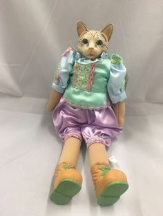Victorian Cat Doll Porcelain Boy Lavender Green Satin  | eBay