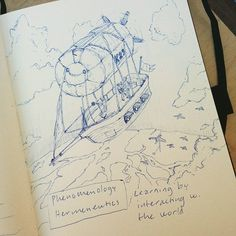 Cool #airship #penandink #sketch by @christianlaumark... There's no better way to interact with and study the world than by #flying above it! Nice #drawing!
