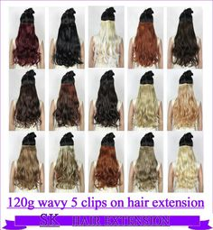 """24"""" (60cm) 120g body wave 5 clips on hair extension clip in hair extensions 40 colors available - http://jadeshair.com/24-60cm-120g-body-wave-5-clips-on-hair-extension-clip-in-hair-extensions-40-colors-available/ Hair Extension"""