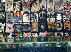Best T-Shirt Wall Ever! <3 Trash & Vaudeville - andy warhol, eddie, sid vicious, joan jett and more awesomes