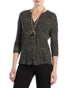 ETCHED GEO HENLEY | Lucky Brand - recently purchased, like the subtle pattern, neckline, drop shoulders