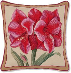 Pink Amaryllis Flower Pillow - Floral Pillows at NeedlepointPillows.com