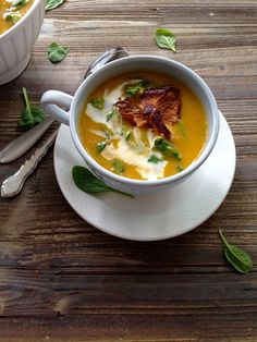 Butternut Squash Soup with Chanterelle Mushroom Recipe