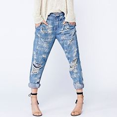 """FIRM Free People Destroyed Boyfriend Jeans 29 EUC Free People Destroyed Boyfriend Jeans size 29. Worn a couple of times. Always hung to dry. Inseam is 29"""". Meant to have wear & tear throughout. The pair I have happen to have a very destroyed part in the buttock area. I have never had my booty show through. No trades. Price is firm. Color is truest to second picture. Free People Jeans"""