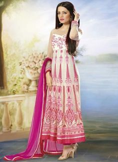 Celina Jaitley In Off White Net With Embroidery Work Anarkali Suit