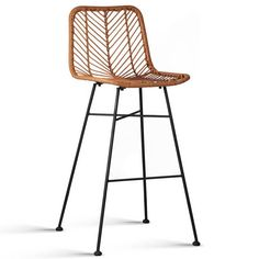 Set of 2 Byron Rattan Bar Stool Natural in PE Wicker Rattan. The faux rattan used for the seat and back is premium PE wicker to ensure better durability. Wicker Bar Stools, Brown Bar Stools, Outdoor Bar Stools, Bar Stool Chairs, Leather Bar Stools, Wooden Stools, Industrial Bar Stools, Modern Bar Stools, Outdoor Kitchen Bars