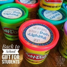 Great for orientation, open house, or back to school night! Free tags for play-doh gift. Created by Little Bell Lessons School Goals, School Week, School Play, Sunday School, First Day Of School Activities, Kindergarten First Day, School Resources, Back To School Night, Back To School Gifts
