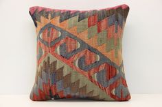 Rustic Kilim pillow cover 16x16 inches Decorative by stripepattern