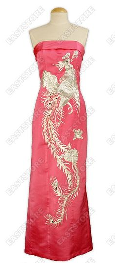 Luxurious and Stunning! This A-one Silver Phoenix Embroidered Silk Cheongsam shows off all the...