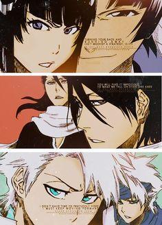 Soifon, Byakuya, and Toshiro