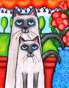 Siamese Mom and Kitten Painting at ArtistRising.com