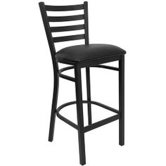 ($59 each) Flash Furniture XU-DG697BLAD-BAR-BLKV-GG HERCULES Series Black Ladder Back Metal Restaurant Bar Stool with Black Vinyl Seat by Flash Furniture, http://www.amazon.com/dp/B002NS2ZKK/ref=cm_sw_r_pi_dp_-G5Irb19ES1BQ