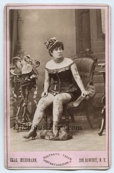 Gorgeous 122 Year Old Cabinet Card Photo of a Tattooed Woman.