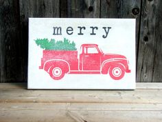 vintage retro styled pickup truck christmas  tree by wallsandwords
