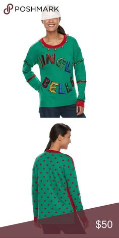 Jingle bells embellished Xmas sweater Display your holiday spirit with style in this festive and fun Christmas themed sweater.  PRODUCT FEATURES Embellished holiday design Long sleeves Crewneck Ribbed hems FABRIC & CARE Machine wash X* Tops