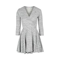 Knitted v-Neck Skater Dress by Wal G (145 BRL) ❤ liked on Polyvore featuring dresses, grey, v neck dress, topshop dresses, long sleeve dress, gray skater dress and skater dress