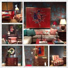 Alexa Hampton's display at Hickory Chair 's High Point showroom... Custom furniture + original artwork = pure inspiration!