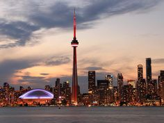Photo about Toronto Skyline at night, Ontario, Canada. Toronto Skyline, Downtown Toronto, Toronto Cn Tower, Art Toronto, Toronto Photos, Torre Cn, Ontario, Places Around The World, Around The Worlds