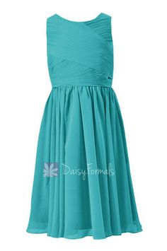 Tea Length Teal Junior Bridesmaid Dress Cyan Little Girl Dress W/Jewel Neck(FL5196AL) – DaisyFormals-Bridesmaid and Formal Dresses in 59+ Colors
