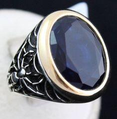 Spider with Net 925 Sterling Silver Turkish Handmade Ottoman Sapphire Men's Ring #Handmade #Eastern