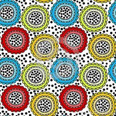 (C) Celia Ascenso -   Colorful flowers and dots.Seamless Tile.