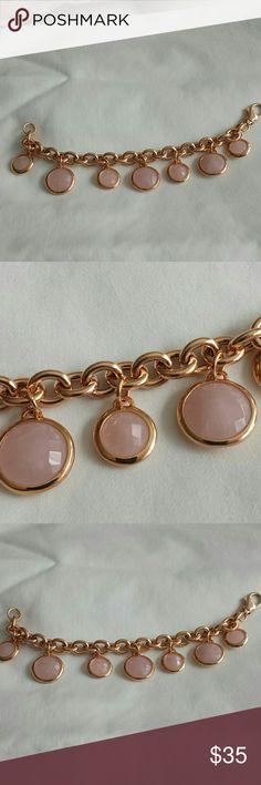 Bronzo Italia with rose quartz bracelet Beautiful bronzo Italia bracelet with faceted rose quartz lobster tail clasp would fit up to a seven and a half inch wrist excellent condition  beautiful bracelet Made in Italy bronzo Italia  Jewelry Bracelets