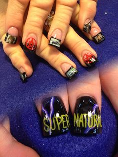 Supernatural nails done by Olivia Gordon