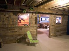 This surfer had his huge basement transformed to reflect his love of the sport. The room's entrance is designed to look like a tiki hut. Inside is a new bar, pool table with custom-built surfboard-light fixture, and to top it all off, there is a surf simulator so the homeowner can ride giant waves anytime.