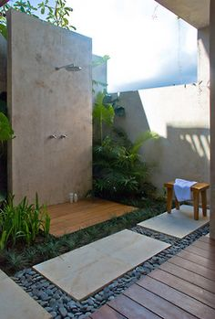 [outside shower mixed paving ]
