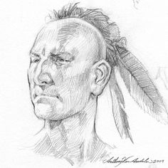 Sketch of an 18th century Huron Native American, by Canadian artist and illustrator Anthony VanArsdale.