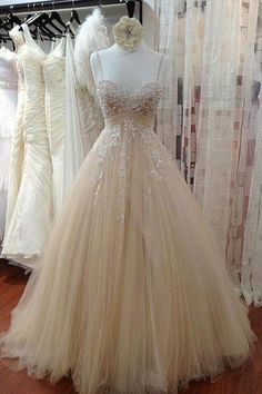 Ivory tulle lace sequins A-line dress with straps,wedding dresses