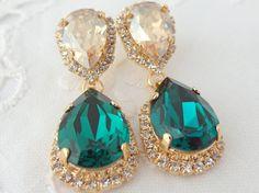 Emerald green and champagne Chandelier earrings, green gold, Bridal earrings, 14k Gold, Dangle earrings, Drop earrings, Swarovski earrings on Etsy, $84.00