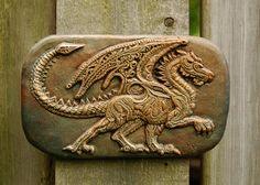 Dragon Stone Art Sculpture, Winged Dragon Wall Plaque, Garden Art Dragon, Dragon Art Stone