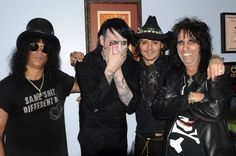 Slash, Marilyn Manson, Johnny Depp and Alice Cooper. Whoever had the idea to put all of these guys together is a genius. Joe Perry, Alice Cooper, Marilyn Manson, Johnny Depp, Corey Taylor, Blues Rock, Guns N Roses, Hard Rock, Tribute