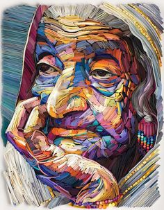 Ritratti di volti anziani in carta colorata di Yulia Brodskaya