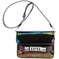 PROENZA SCHOULER 'PS11' oil slick bag featuring polyvore, women's fashion, bags, handbags, shoulder bags, fold over handbag, proenza schouler handbags, faux leather purses, foldover purse and studded handbags