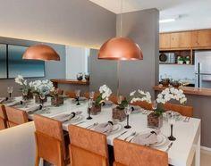 decoração de sala de jantar luminária cobre