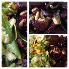 salad with roasted beet, basil tofu, pine nuts and a mustard-dressing * Salat mit gerösteter Rote Beete, Basilikum-Tofu, Pinienkernen & Senf-Dressing * vegan * vegetarian * vegetarisch