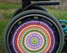 Image result for wheelchair wheel covers made from crochet Wheel Cover, Garden Hose, Chair, Crochet, Image, Ganchillo, Stool, Crocheting, Knits