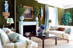 Cheap Home Decor Tory Burch New York Apartment Green Velvet Walls Living Room Sofa.Cheap Home Decor Tory Burch New York Apartment Green Velvet Walls Living Room Sofa Living Room Green, Green Rooms, Formal Living Rooms, Living Room Sofa, Home And Living, Upholstered Walls, Sofa Upholstery, Best Interior, Interior Design
