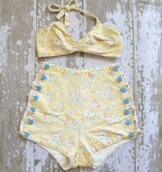 etsy: yellow floral cotton swimsuit