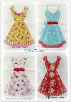 Vintage Dresses Paper Piecing Pattern  Blocks measures 10 finished / 10 1/2 unfinished in height  Includes pattern for Sundress, Cap sleeve dress,