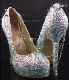8c03a2ce2e3e7d NEW Rainbow SWAROVSKI AB CRYSTAL HIGH HEEL PUMPS PLATFORM Evening Dress  Shoes EUR 35 43 Size 9 Wedding Shoes Sparkle Wedding Shoes From Zhongxian8