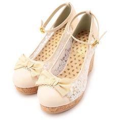 ロマンティックレースウエッジ パンプス Tralala(トゥララ) Tokyo Kawaii Life ❤ liked on Polyvore featuring shoes