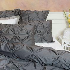 The Valencia Charcoal Gray Pintuck Duvet Cover Set | Crane & Canopy